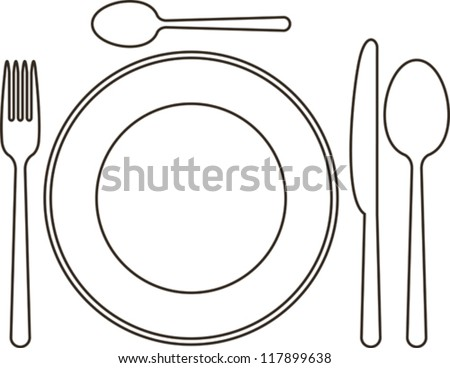 Place setting with plate, knife, spoons and fork