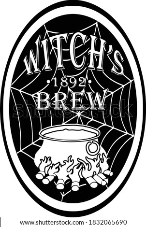 Place this label on all all your nefarious potions.  This cut file design consists of a witch's cauldron accompained with the words witch's brew.  Photo stock ©