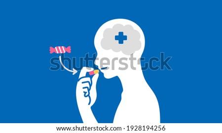 Placebo Effect vector illustration blue ストックフォト ©