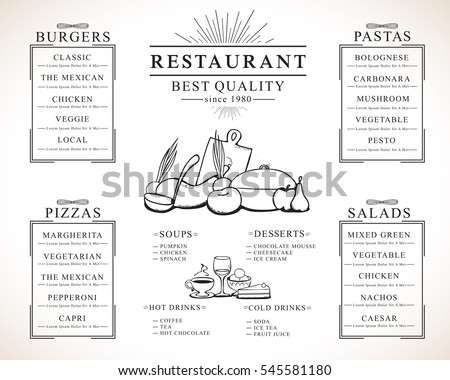 Placemat design template, vector illustration. Hand drawn diner cover. Creative restaurant menu brunch flyer for print materials, web site
