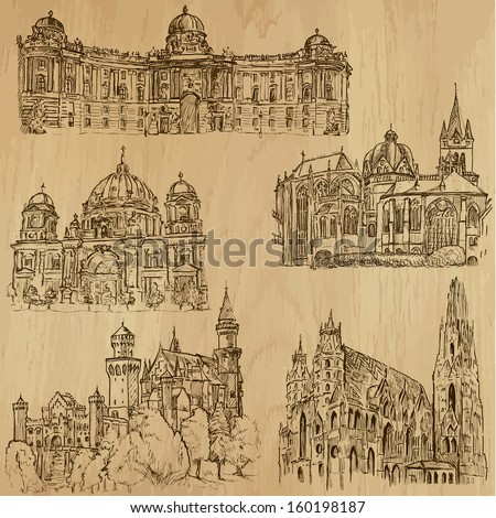 Places and Architecture around the World (set no.9)-Collection of hand drawn illustrations (originals, no tracing). Each drawing comprises of two layers of outlines,the colored background is isolated.