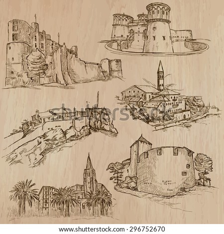 Places and ARCHITECTURE (set no.43). Pack of an hand drawn vector illustrations. Each drawing comprise three layers of lines, colored background is isolated. Editable. Focus on: Medieval architecture
