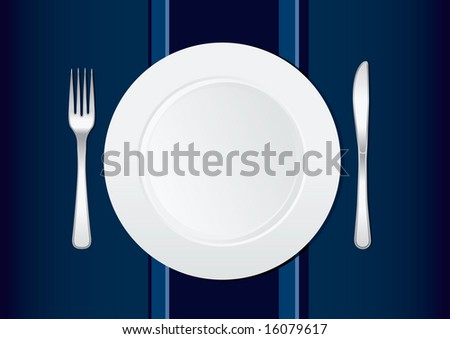places setting holding knife - stock vector