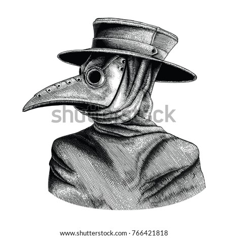 plague doctor hand drawing
