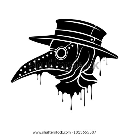 Plague doctor mask. Steampunk mask with beak. Vector clipart Stockfoto ©