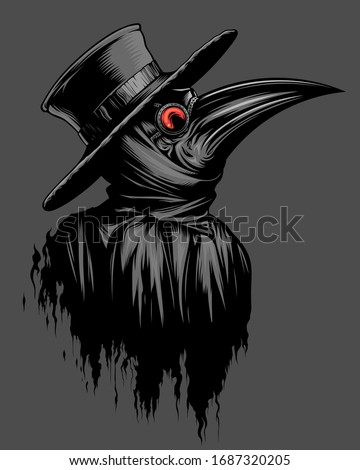 Plague doctor portrait on the gray background. Stockfoto ©