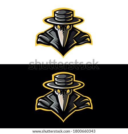 Plague Doctor Steampunk Veba Mask Mascot Logo Stok fotoğraf ©
