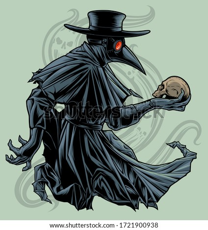 Plague doctor with skull. Vectorized ink drawing of plague doctor with human skull.  Stockfoto ©
