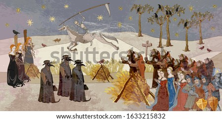 Plague epidemic. Horseman of death on horse. Terrible doctors. Medieval scene. World pestilence. Coronavirus art. Ancient book illustration. Middle Ages parchment style Stockfoto ©