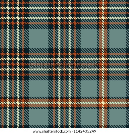 Plaid check patten in grayish blue, sienna red, blackish navy and cream. Seamless fabric texture print.