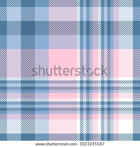 Plaid check patten in shades of pastel blue, pink and white. Seamless fabric texture print.