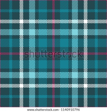 Plaid check patten in teal green, aqua, white and amaranth purple. Seamless fabric texture print.
