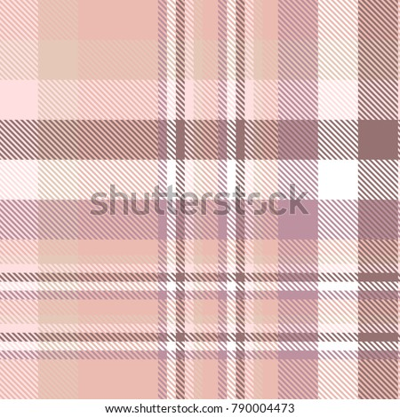 Plaid check pattern in pink, pale red, faded burgundy, pale purple and white. Seamless fabric texture.