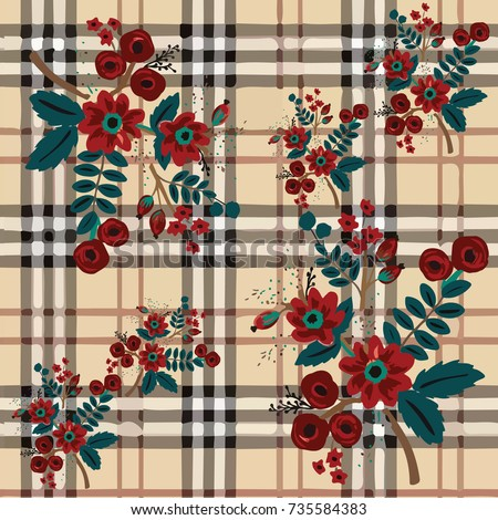 plaid flower pattern vector...