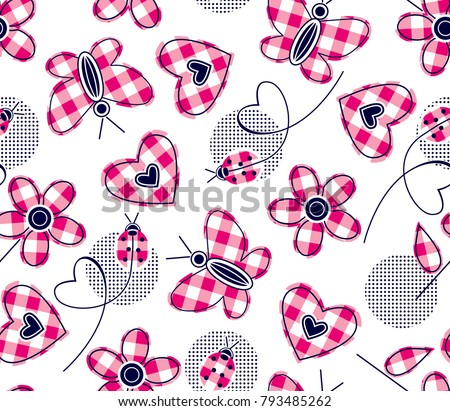 plaid hearts daisies butterfly