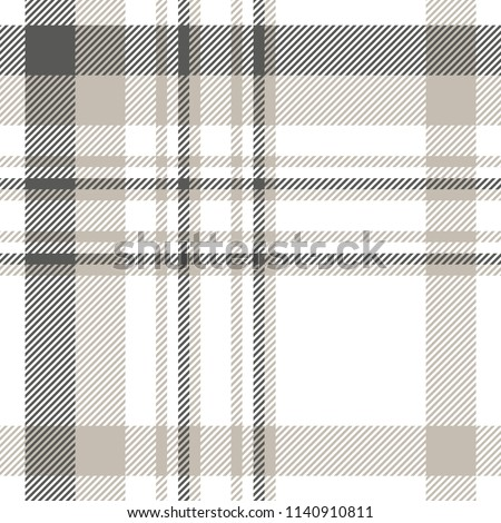Plaid patten in dark gray, light taupe and white. Seamless fabric texture print.