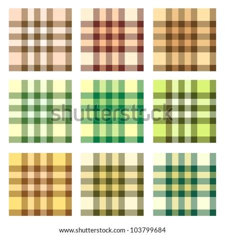 Plaid pattern design vector set