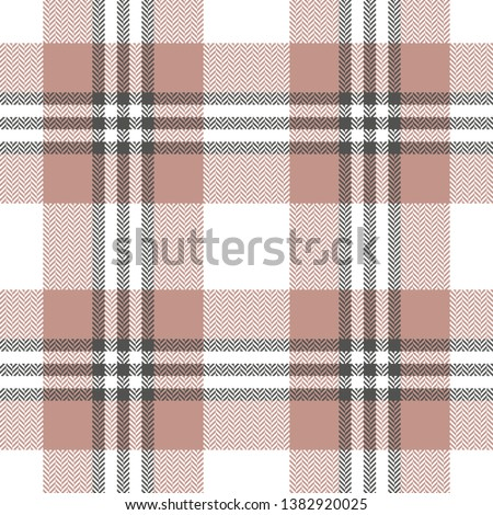 Plaid pattern. Herringbone seamless check plaid in grey, white, and rosy brown for scarf, poncho, blanket, or other summer textile design. Pixel texture.