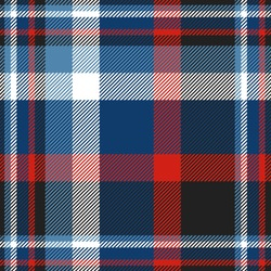 Plaid pattern in blue, red, black and white. All over fabric texture print.