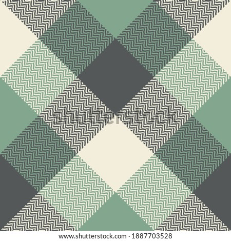 Plaid pattern in green, grey, beige. Herringbone classic Scottish tartan checked graphic for flannel shirt, jacket, blanket, duvet cover, or other modern spring, autumn, winter textile print.