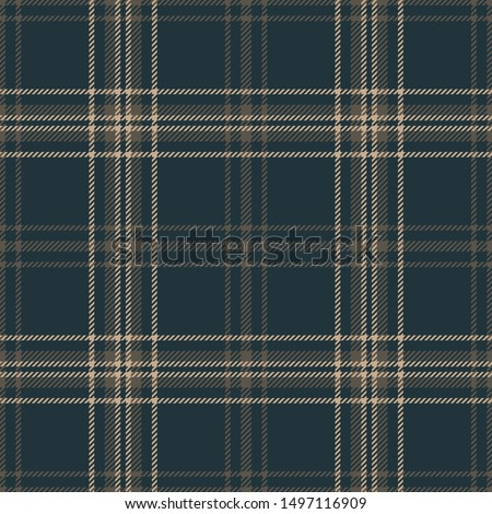 Plaid pattern seamless vector graphic. Dark multicolored Scottish tartan check plaid in blue and brown for flannel shirt or other modern textile design.
