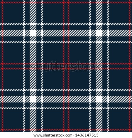 Plaid pattern seamless vector graphic. Tartan check plaid in dark blue, red, and white for modern textile print.
