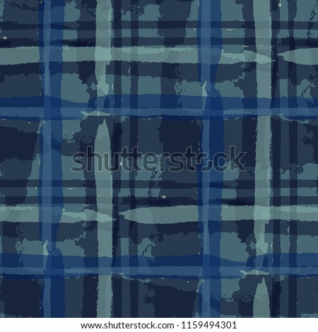 Plaid. Seamless Grunge Background with Hand Painted Crossing Lines for Print, Upholstery, Cloth. Rustic Check Texture. Vector Seamless Plaid Texture.
