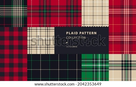 Plaid seamless patterns, set with Rob Roy or Buffalo check Foto stock ©