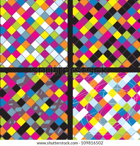 Plaid whimsical seamless patterns collection