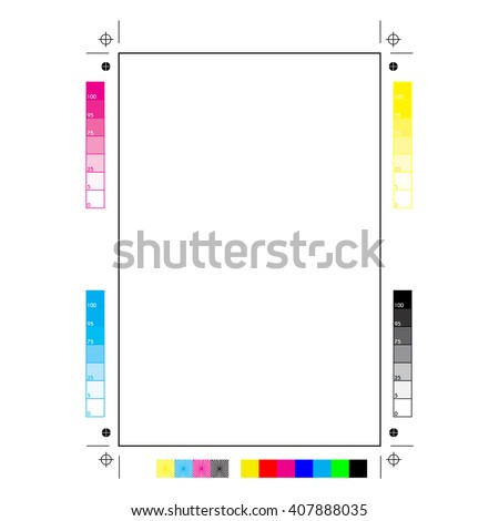 Plain paper with all the printer marks: printing, cutting and calibration
