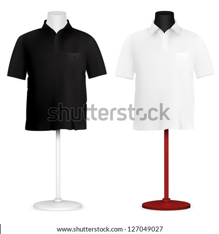 Plain polo shirt on mannequin torso template.