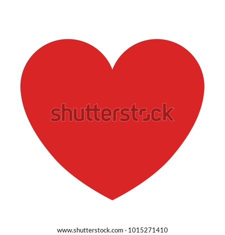 Plain Red Heart on White Background Vector Illustration 1