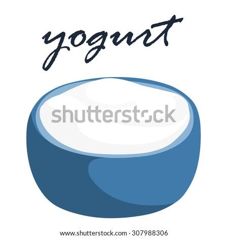 plain yogurt in blue bowl