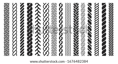 Plait and braids pattern icon, line art design. Graphic drawing, hairdresser set. Vector braids illustration on white background.