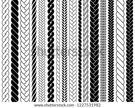 Plaits and braids pattern brushes. Knitting, braided ropes vector isolated collection