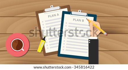 plan a and plan b illustration with clipboard
