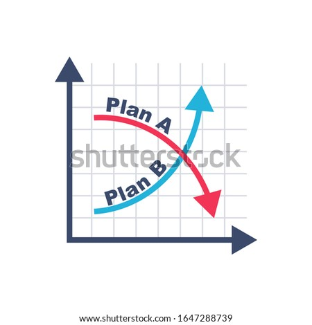 Plan A and plan B on financial chart. Graph on blackboard. Passes to second option. Vector illustration flat design. Alternative idea. Up and down arrow as symbol of success solution and failure.