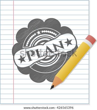 Plan emblem draw with pencil effect