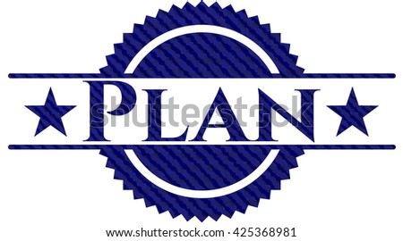 Plan emblem with denim texture