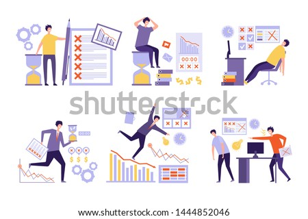 Plan fails. Over much tasks bad management non organized business people overtime work schedule vector concept. Business failure work, management planning fail illustration ストックフォト ©