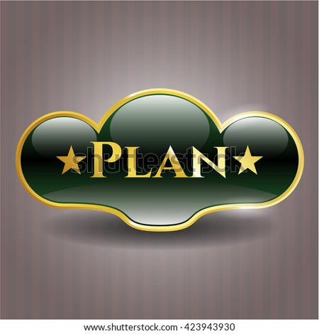 Plan gold emblem or badge