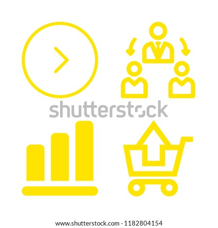 plan icons set with manager, substracting of shopping cart and business bars graphic vector set