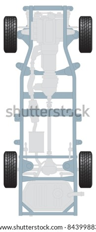 Plan of car chassis showing wheels, transmission engine and suspension - stock vector