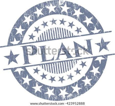 Plan rubber grunge stamp