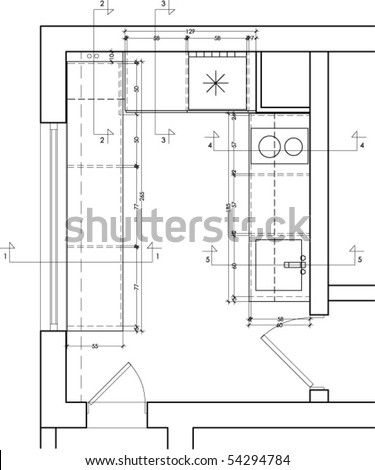 Plan View Of A Kitchen Furniture Drawing Stock Vector 54294784