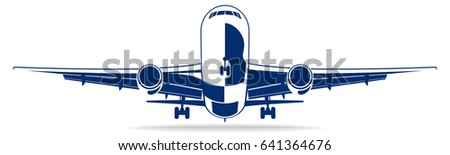 Plane abstract lines vector logo. Vector illustration