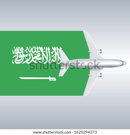 plane and flag of saudi arabia