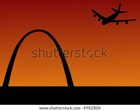 plane arriving at St louis with Gateway arch