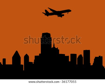 plane arriving in Dallas at sunset illustration