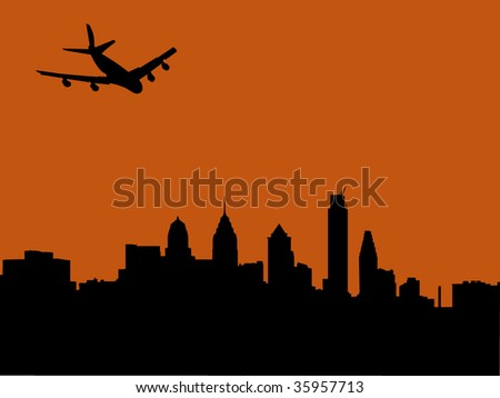 plane arriving in Philadelphia at sunset illustration - stock vector